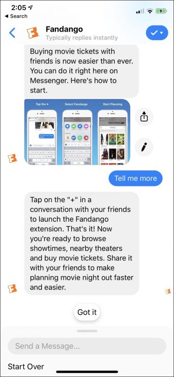 what is a chatbot - example of fandango