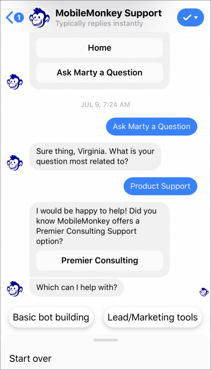 mobilemonkey support chatbot