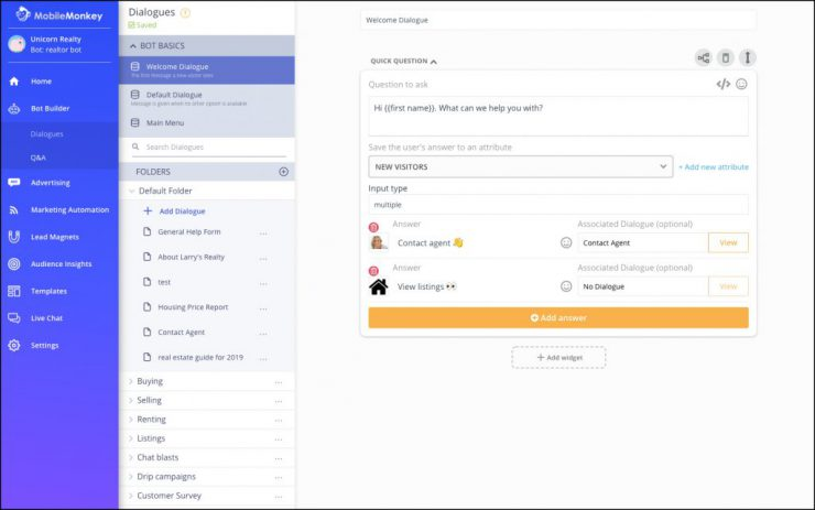 Facebook Tools: MobileMonkey chatbot builder