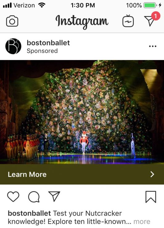 Facebook Tools: Instagram ad for the Boston Ballet