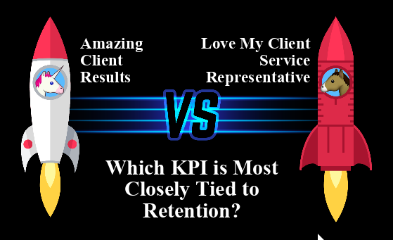 "Two rockets, one that says ""amazing client results"" and one that says ""love my client service representative,"" under which is the question ""which KPI is most closely tied to retention?"""
