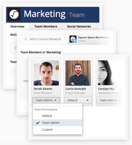 Facebook Tools: A screen capture displaying some of Hootsuite's team management features.