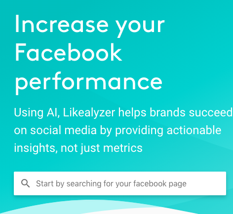 Facebook Tools: Likealyzer's Facebook page search bar.