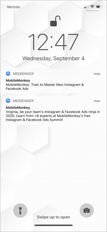 messenger notification of sponsored message