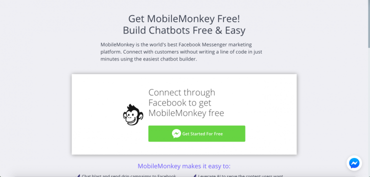 How to build a bot for business: MobileMonkey sign up page.