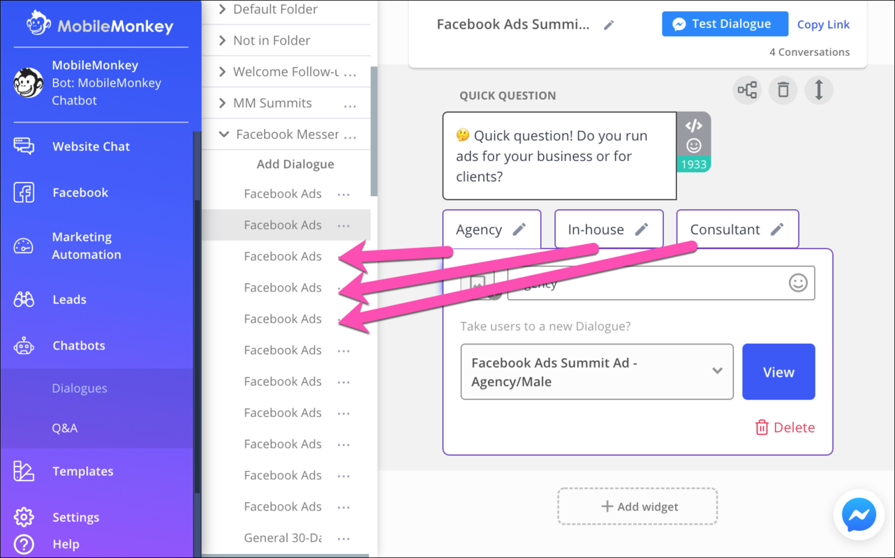 chatbot funnel options connect to dialogues