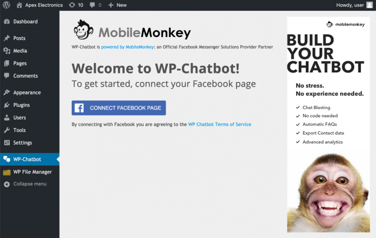wp chatbot connect with facebook