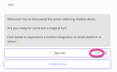 100% of button clicks to chatbot