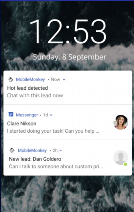 Bot Human Handoff: Mobile app notifications on mobile phone lock screen