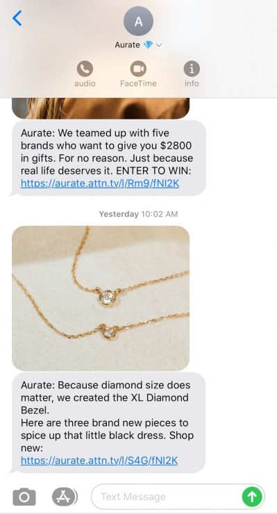 Gift Finder Chatbot: An SMS text blast from Aurate advertising new jewelry