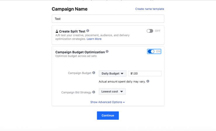 messenger chatbot for instagram: create campaign name and determine budget
