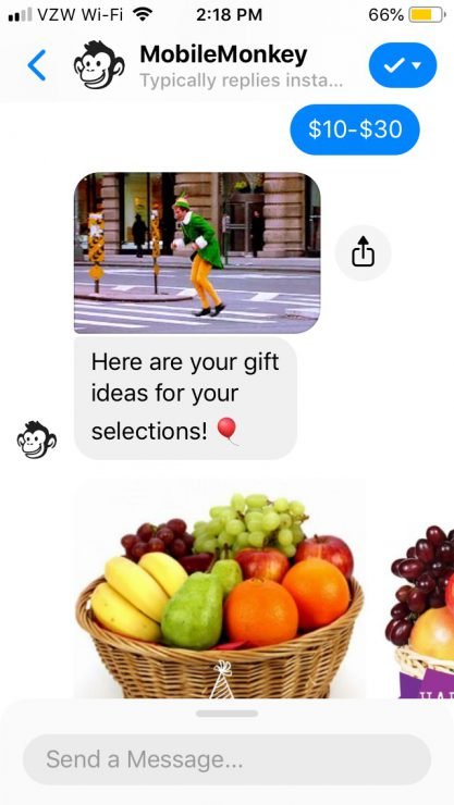 Gift Finder Chatbot: Example of gift recommendation in action