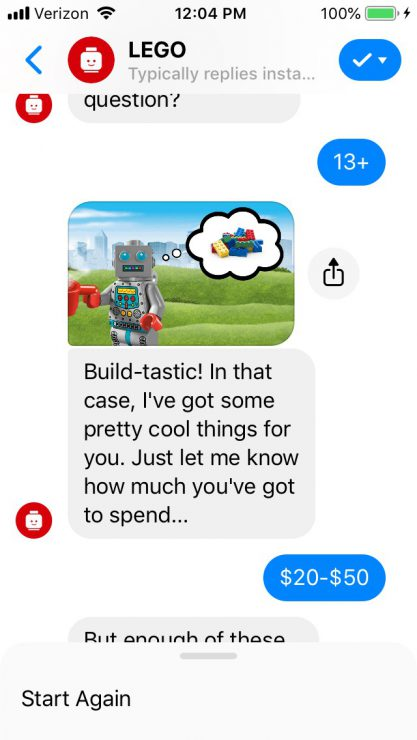 Gift Finder Chatbot: LEGO bot age question