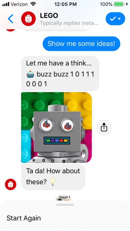 Gift Finder Chatbot: LEGO Bot Ralph thinking
