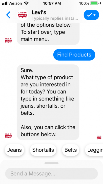 Gift Finder Chatbot: Levi's product recommendation bot