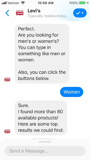 Gift Finder Chatbot: Levi's product recommendation chatbot fit style preference