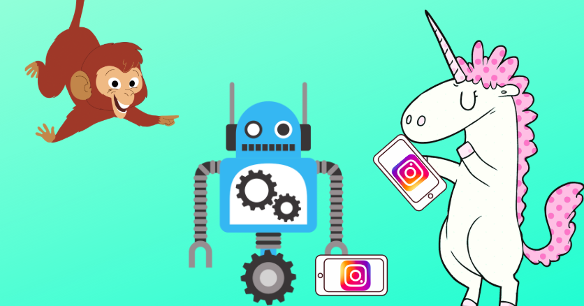 messenger chatbots for instagram: a robot and a unicorn play with their instagram profiles while a monkey watches