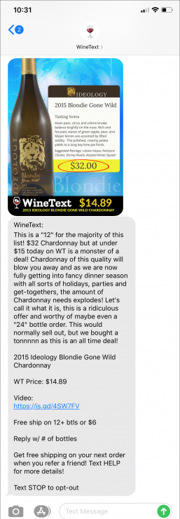 Gift Finder Chatbot: An image of a text message from Wine Text, a mobile wine offers program