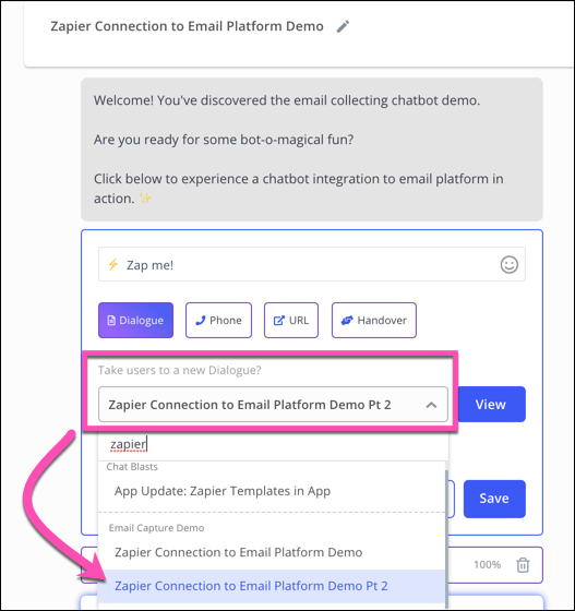 connect bot dialogue Zapier Connection to Email Platform Demo to the button in the dialogue