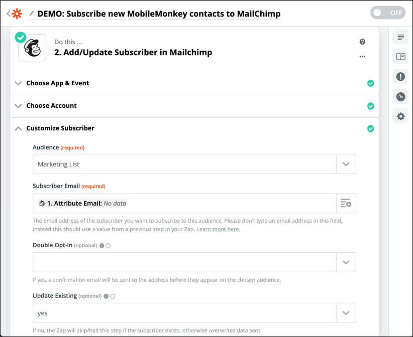 subscriber mailchimp email attribute
