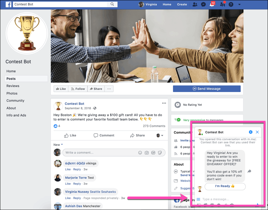 facebook auto responder contest bot facebook post and messenger response