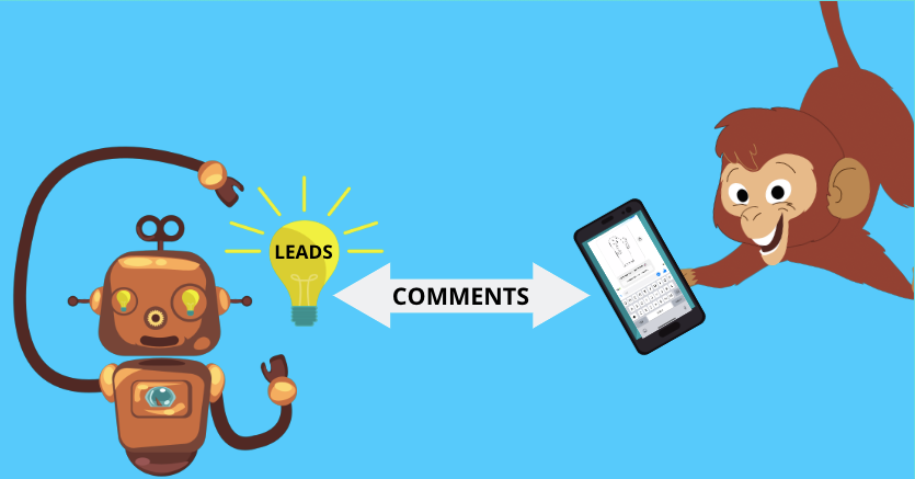 "a monkey holds a smartphone with a facebook auto responder bot on it and a robot holds a lightbulb that says leads. there is an arrow in between them that says ""comments"""
