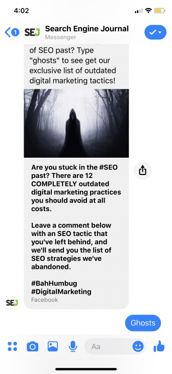 facebook auto responder: type ghosts for article