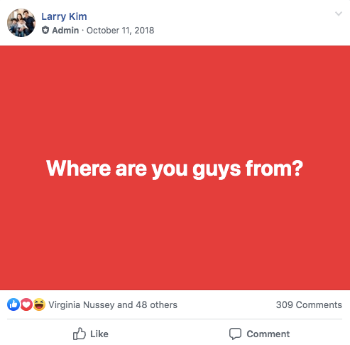"facebook auto responder mobilemonkey island facebook group post that says ""where are you from"" on a red background"