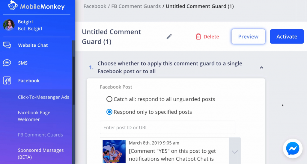 Setting up a Facebook Comment Guard