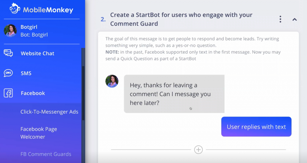Initiating a conversationwith users who engage with your Comment Guard