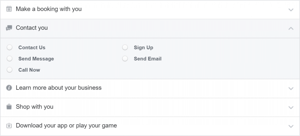 Options that Facebook allow you to choose from for the CTA button on your Facebook Page
