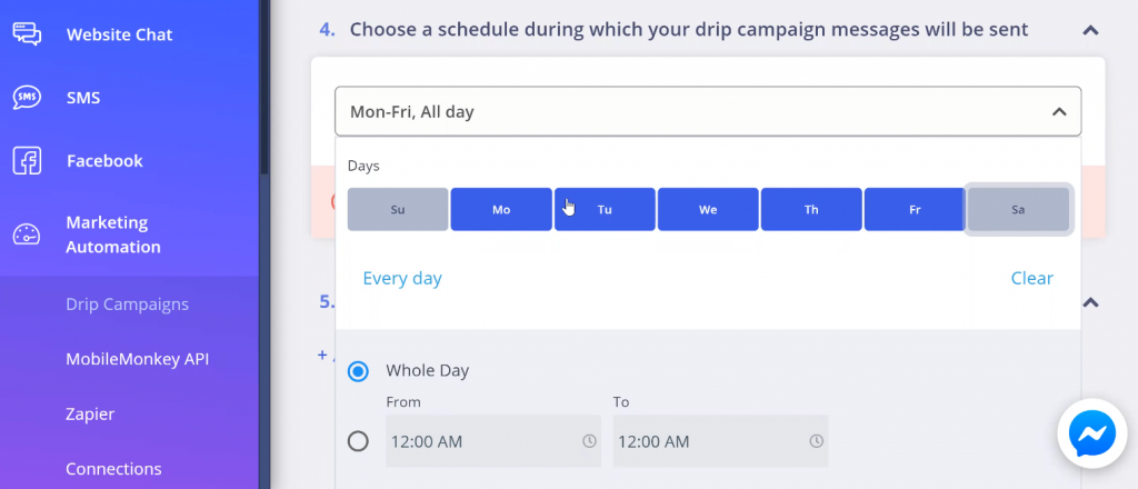 Selecting your schedule
