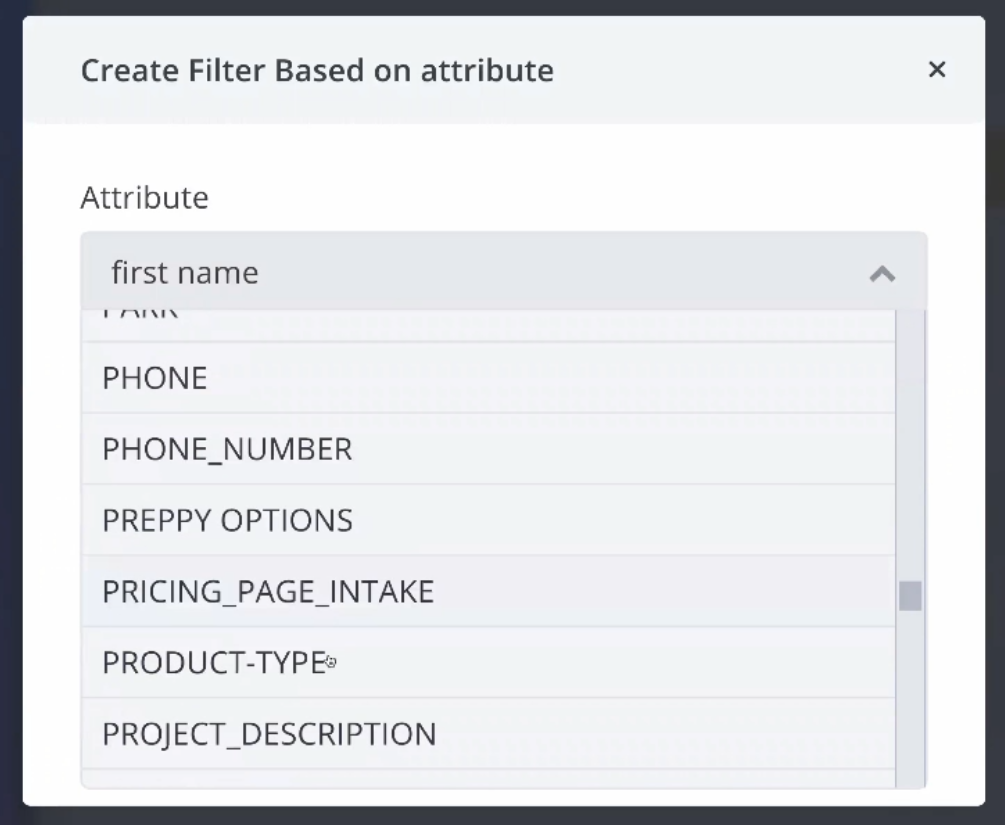 Selecting an attribute