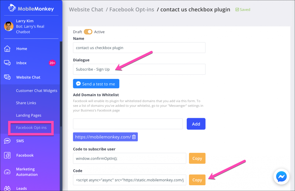 facebook messenger marketing opt-in checkbox