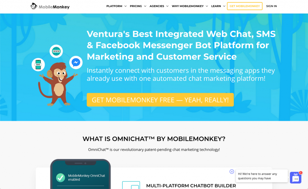 website chatbot on mobilemonkey site