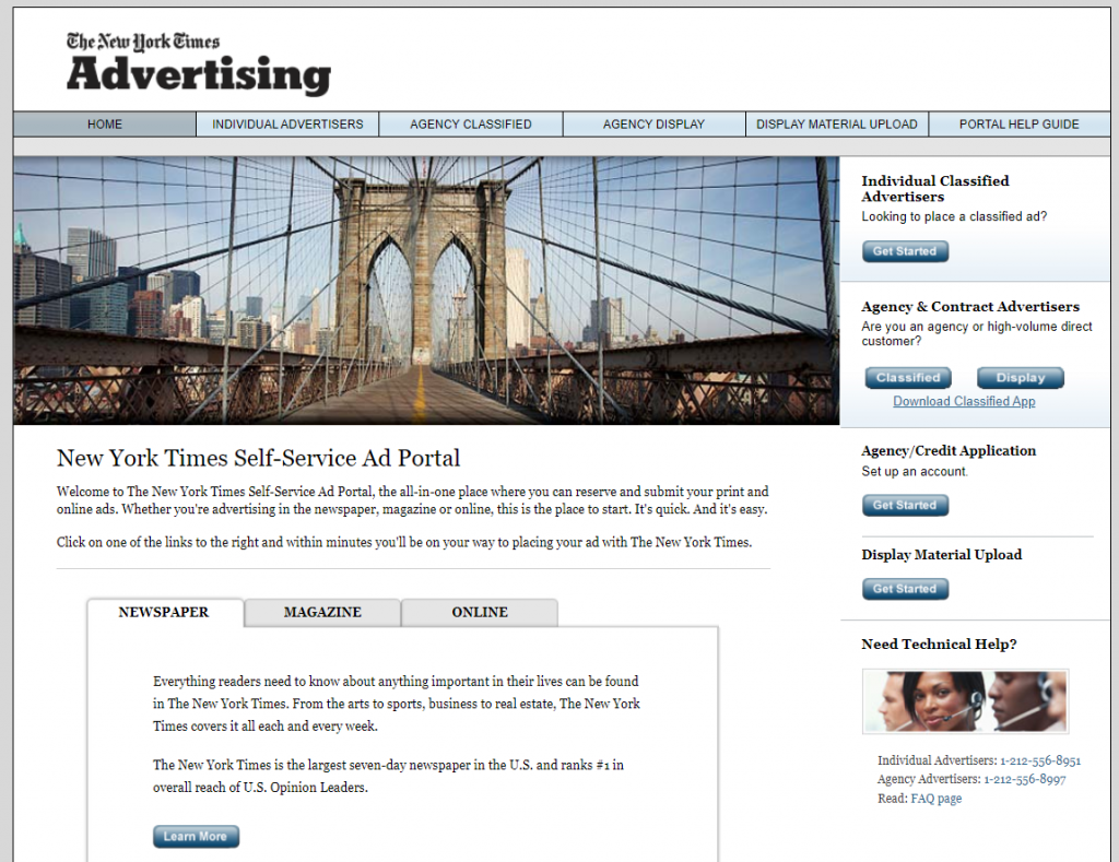 Advertising on the New York Times website