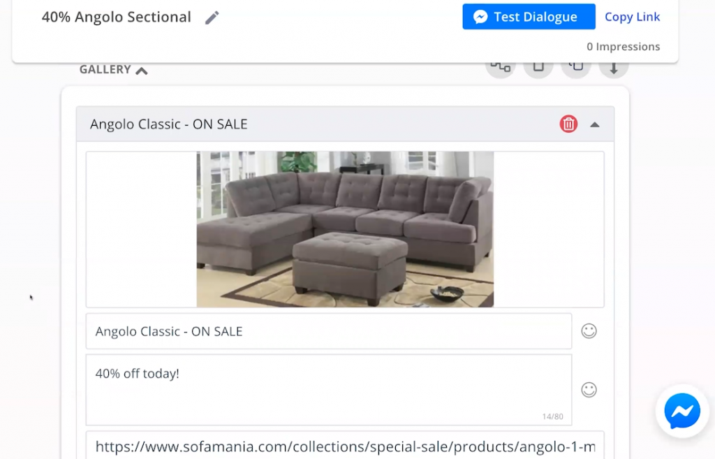 Use of the gallery feature in a MobileMonkey sales message