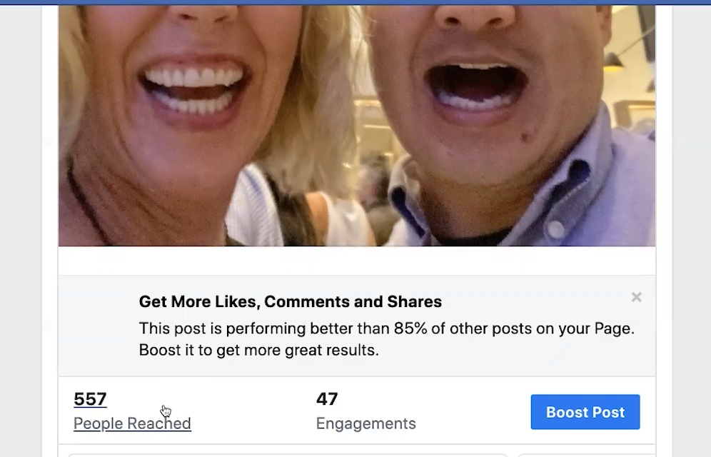Another example of a post that Facebook recommends that you boost
