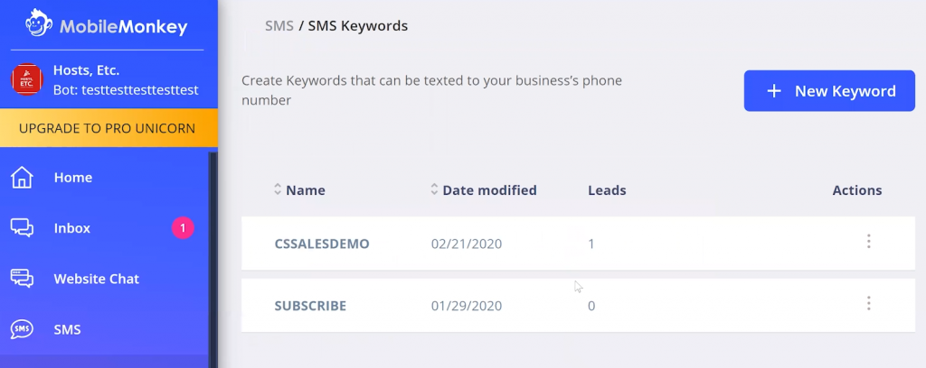sms keywords for text message marketing