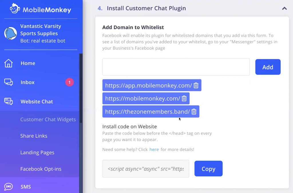 8) Install the customer chat plugin on your website