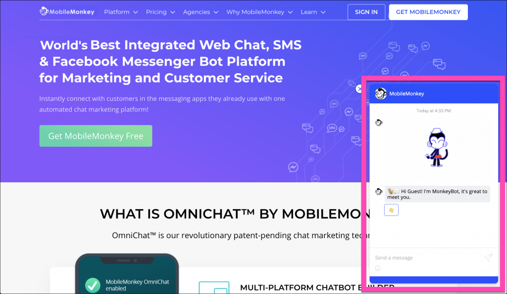 advanced chatbot builder for web chat sms messenger