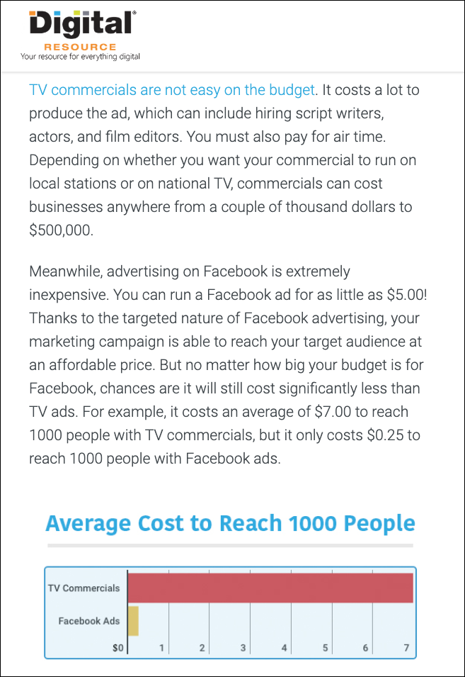 facebook ad costs vs television ads