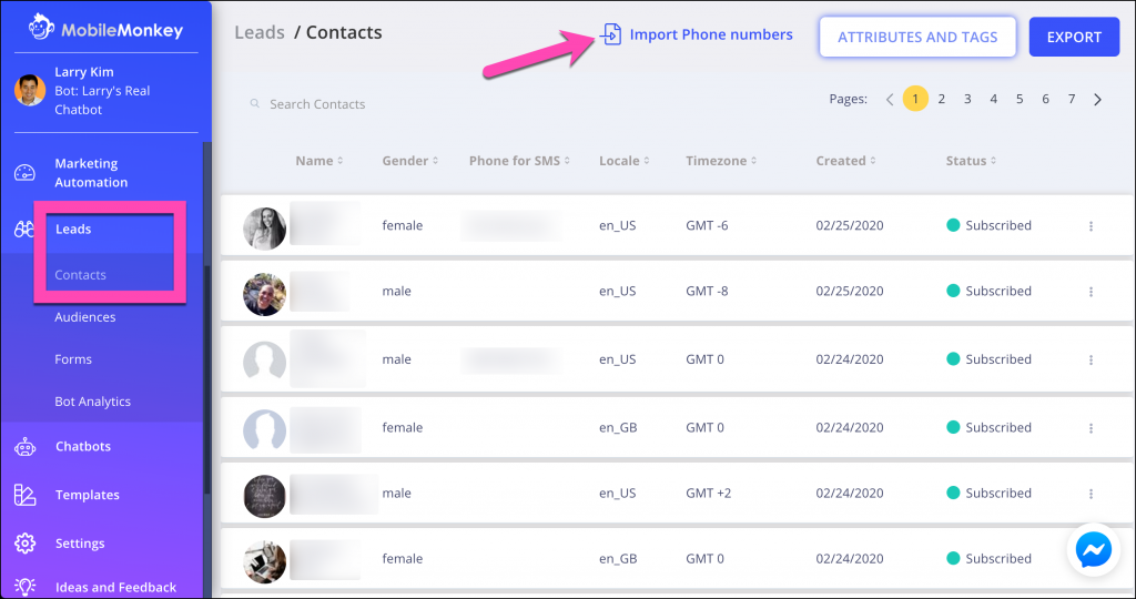 import phone numbers to mobilemonkey contacts leads