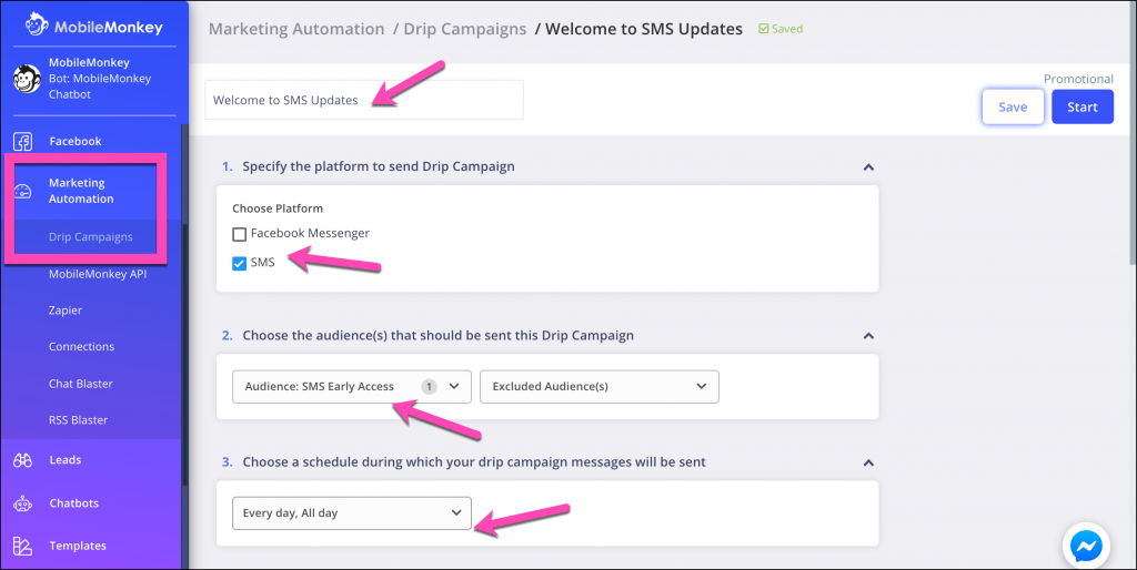 sms tools drip campaign settings