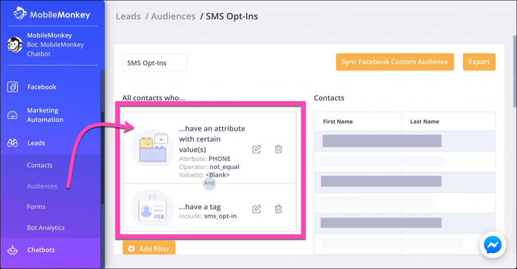 sms tools to create audience segments