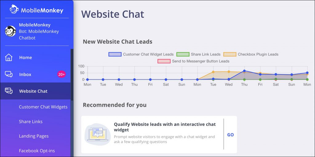 web chat leads reporting