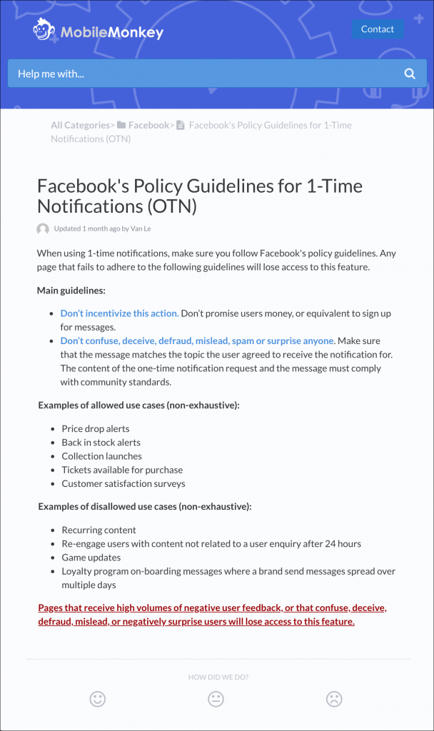 Facebook one-time notification polity
