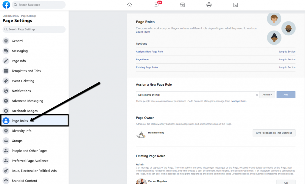 how to add admin to Facebook page - Step 2