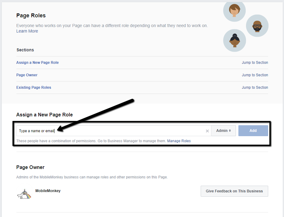 how to add admin to Facebook page - Step 3