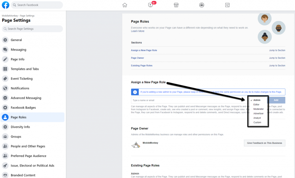 How to add admin to Facebook page - Step 4